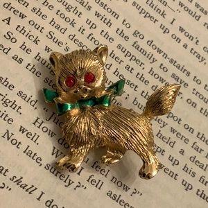 Vintage Gerrys Cat Green Bow Red Rhinestone Brooch